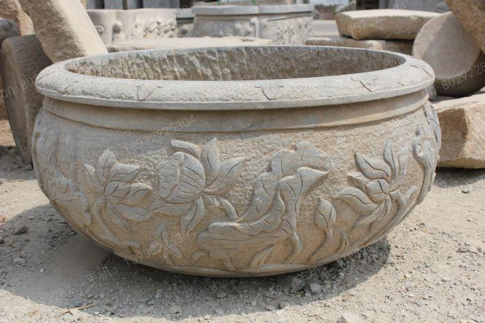 曲阳石雕 曲阳雕塑 仿古石雕鱼缸 仿古石雕花盆 生态