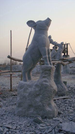 动物石雕猪雕塑 石雕十二生肖雕塑现货